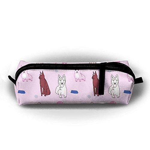 Cartoon Pug Dog Bone Basin Pen Pencil Stationery Bag Makeup Case Travel Cosmetic Brush Accessories Toiletries Pouch Bags Zipper Resistance Carry Handle Power Lines Hanging Handbag Documents ()