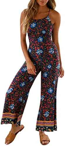 7417353cdcc6 Womens Vintage Floral Print Wide Leg Pants Long Jumpsuit Sexy Backless  Bandage Strappy Playsuit