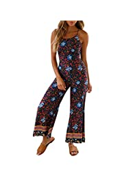 Clearance! Womens Vintage Floral Print Wide Leg Pants Long Jumpsuit Sexy Backless Bandage Strappy Playsuit Romper