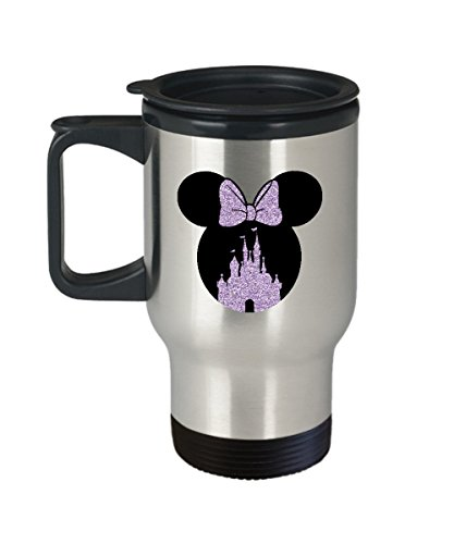 Happiest Castle Travel Mug Gift Mouse Ears Magic Purple Bow Coffee ()