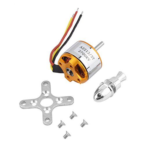 A2212/5T 2700KV Outrunner Brushless Motor for RC Aircraft Model Airplane aluminum stainless steel gold, by LC Prime