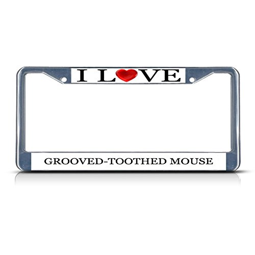 I Love Heart Grooved-Toothed Mouse Chrome Metal License Plate Frame Tag Border