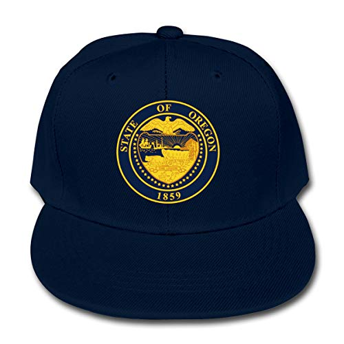 Manlee Oregon Emblem Logo Unisex Kids Plain Cotton Adjustable Low Profile Baseball Cap Hat Navy