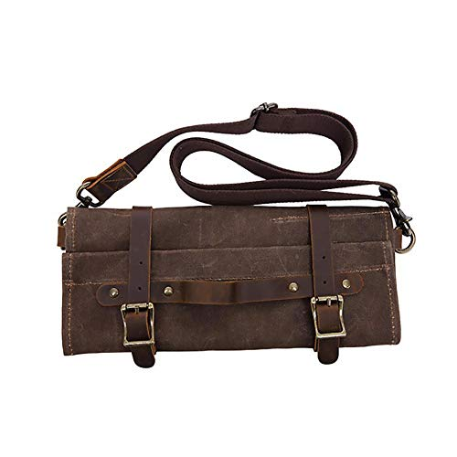 Sonita3008 Leather Roll Up Tool Bag Vintage Style Tool Bag Multi-Functional Hardware Tools Storage Pack Portable Folding Canvas Top Layer Leather Worker Handbag Coffee
