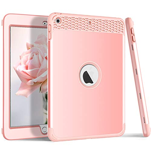 iPad 9.7 2018/2017 Case, ZERMU 3in1 Honeycomb Heavy Duty Shockproof Hard Plastic Cover+Impact Resistant Silicone Rubber Protective Armor Defender Full Body Protective Case for iPad 6th Generation
