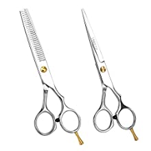 Professional Hair Scissors Kits Barber/Salon Stainless Steel Hair Cutting Shears Set Thinning/Texturizing Scissors 6.5 inch Hairdressing Stylist Shears with Case For Home Men Women Kids