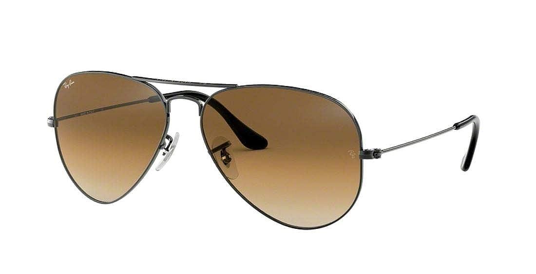 1493edce91e Amazon.com  Ray-Ban RB3025 Aviator Gradient Unisex Sunglasses (Gunmetal  Frame Brown Gradient Lens 004 51