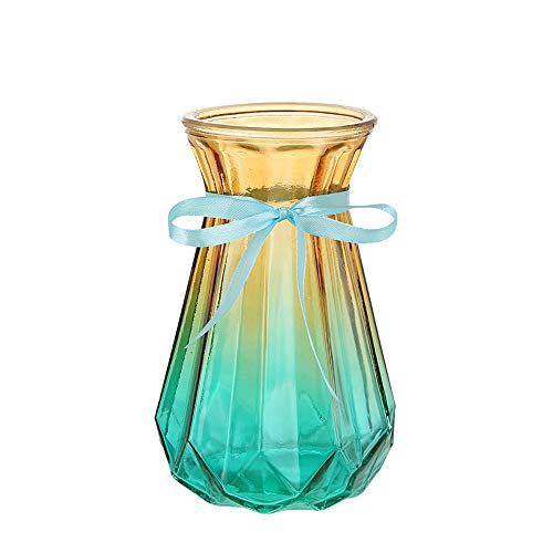 AmHome Rome Retro Glass Vase Clear Gradient Multicolor Particular Designed Art Decorative Flower Vases for Office Home Decor (Clear Yellow Blue 7