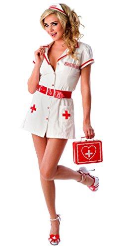 Velvet Kitten Sexy Nurse Feel Good Naughty Lingerie Costume Set in White / Red