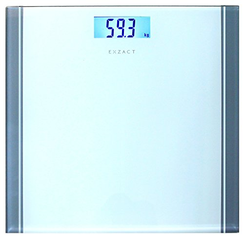 EXZACT Bathroom Scale / Peronal Scale/ Digital Weighing Scale - Large Capacity 180kg / 400lb /28st - High Precision, Step-on, Backlight LCD Display, High Quality Tempered Glass Platform, Slim and Smart Design (White)
