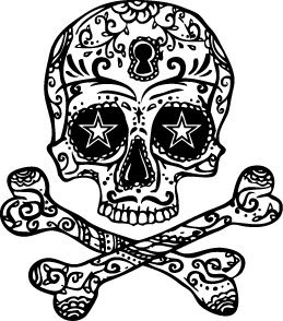 Amazon Com Halloween Skull Cross Bones Temporary Tattoo Set