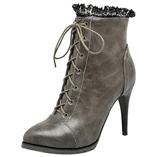 High Ankle Gray Fashion Boots Heel Taoffen Women YIxqZw0nE