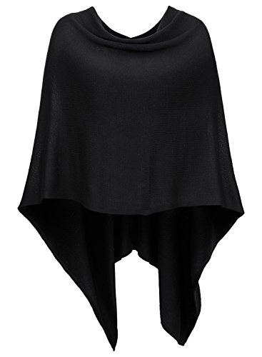 Solid Black Cape (DJT Womens Solid Knit Short Asymmetric Wrap Poncho Topper Black)