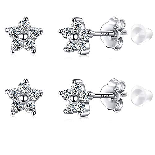 Flower Earrings with Cubic Zirconia and White Gold Plated Sterling Silver for Piercing Flat Ears