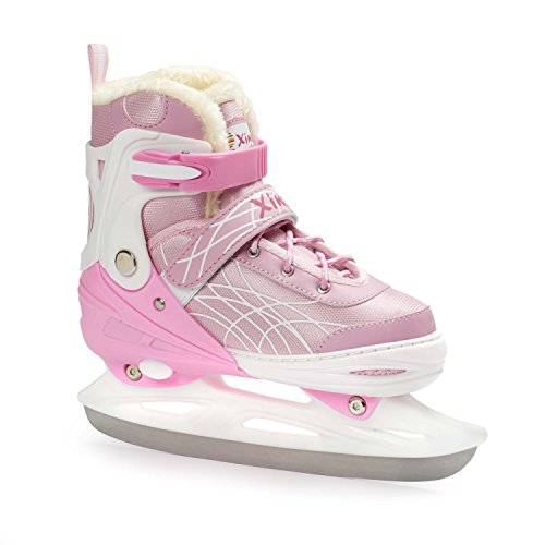 Premium Adjustable Ice Skates for Girls and Boys, Two Awesome Colors - Blue and Pink, Super Comfortable Padding and Reinforced Ankle Support, Fun to Skate! Pink size Small