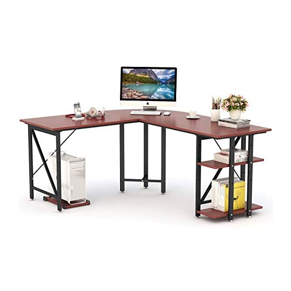 "LITTLE TREE L-Shaped Computer Desk, 67 inch Modern Corner Computer Desk Study Workstation Gaming Table with Shelves Storage for Home Office - [Large Desktop Size] : 67""(Long Side) x 59""(short Side)"" x 24""D , offers a surprisingly large space for multiple monitor or other essential home office supplies. L shape desk Fits snugly in a corner to maximize and creat ideal workspace. [Extra Storage Space] : Convenient 2-tier open shelves storage on the right side of the corner desk. Adjust height or remove the upper shelf according to your requirements. And a free CPU holder is also included. Making everything you need accessible. [Spacious Leg Room ]: 30"" height computer desk provide large room underneath without any legs obstructing. The large space under the corner table allows you to stretch freely and to switch between the left and right part of the desk. - writing-desks, living-room-furniture, living-room - 41ITbybRGqL. SS570  -"