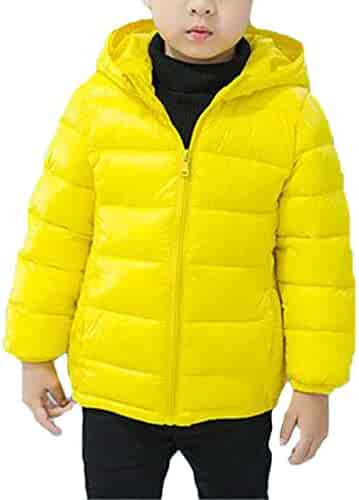 Hajotrawa Boy Girl Vogue Puffer Zip-Front Padded Fleece Hooded Parka Jacket Coat