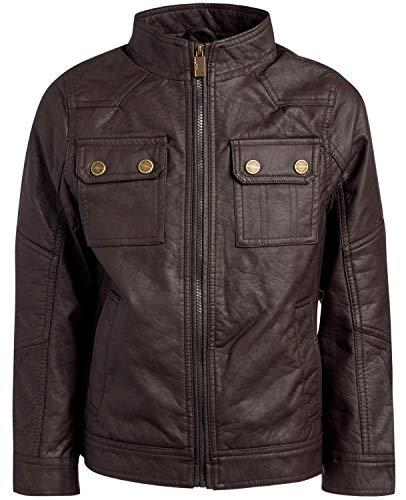 Urban Republic Boy's Faux Leather Officer Jacket, Dark Brown, Size 10/12'