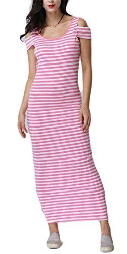 Summer Fit Shoulder Dresses Cold Womens Slim Sleeve 1 Short Casual Jaycargogo Maxi Striped Bodycon UqSwFf