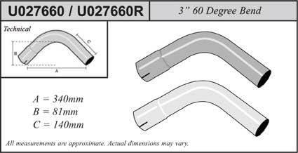 U027660 Jetex Universal Exhaust 60 Degree Bend 3 Mild Steel