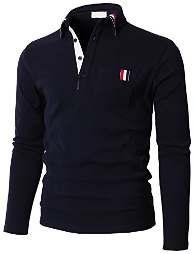 (H2H Mens Casual Long Sleeve Polo T-Shirts with Chest Pocket Navy US L/Asia 2XL)