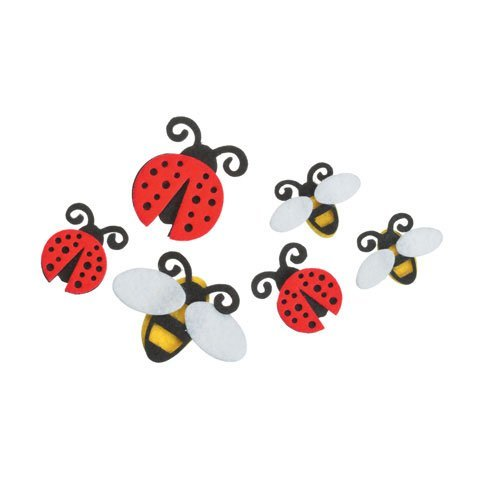 Darice Bulk Buy DIY Kids Felties Felt Stickers Lady Bugs and Bees 18 Pieces (3-Pack) FLT-1005