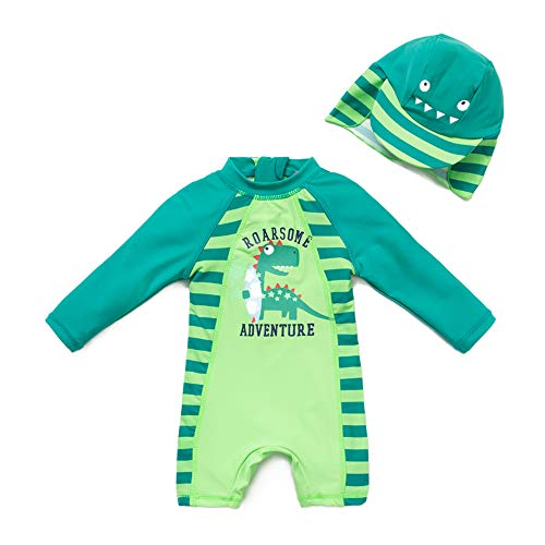 upandfast Kids One Piece Zip Sunsuit with Sun Hat UPF 50+ Sun Protection Baby Beach Swimsuit (Dinosaur(LS), 4T)]()