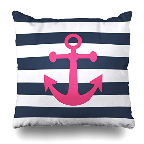 (SPXUBZ Nautical Navy Blue Stripes Pink Anchor Cotton Throw Pillow Cover Home Decor Nice Gift Indoor Pillowcase Standar Size (Two Sides))