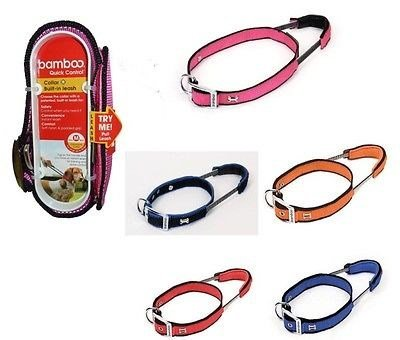 Bamboo Quick Control Collar with Built-In Leash Extra Large, Orange