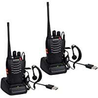 BYBOO USB Rechargeable Walkie Talkies Long Range Baofeng BF-888S Walkie Talkie UHF 400-470MHz 16 Channels Two Way Radios CTCSS DCS with Earpiece - 2 Pack