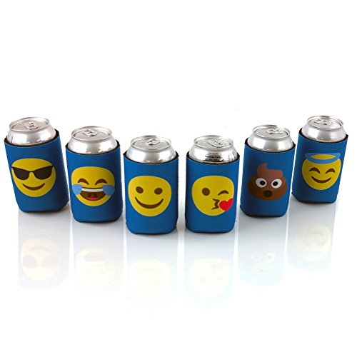 Beer Can Sleeves, Emoji Insulators for Cans and Bottles, 6 Pack of Collapsible Double Sided Coolies with 12 Designs