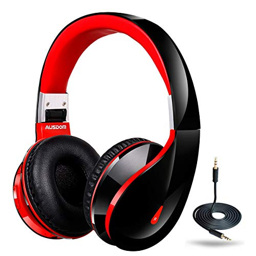 Ausdom AH2S-1, Bluetooth Wireless On Ear Headphones with Microphone Foldable, 50mm Driver Stereo Bass Wireless Wired Gaming Headsets, Comfortable Ear Cushions for Pc Mac Mobile Phones, Red & Black