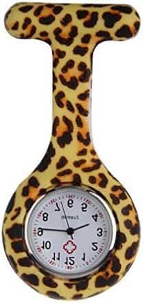 NEW Leopard Silicone Quartz Movement Nurse Brooch Fob Tunic Pocket Watch