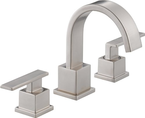 Delta 3553LF-SS Vero Two Handle Widespread Bathroom Faucet, Stainless by DELTA FAUCET