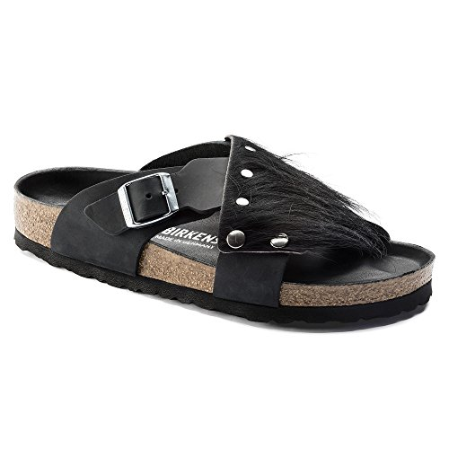 Image of Birkenstock Women's Guam Fur Exquisite Black Oiled Leather 40N