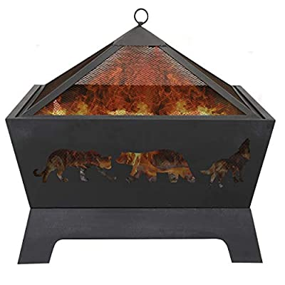 LEMY 26 Inch Outdoor Metal Stove Fire Pit - Backyard Patio Capming Wood Burning Fireplace, Geometric Shaped Steel Fire… - 【Heavy Metal Construction】This durable fire pit is manufactured from a sturdy steel iron mesh and frame construction,finished with Heat and rust-resistant coating Surface protection against high temperature.Enjoying it this winter season. 【Deeper Fire Pit】Unlike other ordinary firepit,this new updated fireplace has a great depth,it have plenty of room for firewood and charcoal.There are raised iron brackets on the bottom for the wood for better ventilation,the construction allowed it to light quickly and throw off very good heat. 【Safe Fire Pit】 This wood burning fire pit features with mesh lid to help prevent embers blowing away and comes with a poker to move hot woods and remove the mesh lid safely,so you don't burn your hand putting the cover on.Also have a rain cover to avoid getting rusty by water or rain when not in use. - patio, outdoor-decor, fire-pits-outdoor-fireplaces - 41ITeQ7pBHL. SS400  -