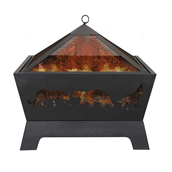 LEMY 26 Inch Outdoor Metal Stove Fire Pit - Backyard Patio Capming Wood Burning Fireplace, Geometric Shaped Steel Fire Pit w/Extra Deep Pit&Cover - 🔥【Heavy Metal Construction】This durable fire pit is manufactured from a sturdy steel iron mesh and frame construction,finished with Heat and rust-resistant coating Surface protection against high temperature.Enjoying it this winter season. 🔥【Deeper Fire Pit】Unlike other ordinary firepit,this new updated fireplace has a great depth,it have plenty of room for firewood and charcoal.There are raised iron brackets on the bottom for the wood for better ventilation,the construction allowed it to light quickly and throw off very good heat. 🔥【Safe Fire Pit】 This wood burning fire pit features with mesh lid to help prevent embers blowing away and comes with a poker to move hot woods and remove the mesh lid safely,so you don't burn your hand putting the cover on.Also have a rain cover to avoid getting rusty by water or rain when not in use. - patio, outdoor-decor, fire-pits-outdoor-fireplaces - 41ITeQ7pBHL. SS570  -