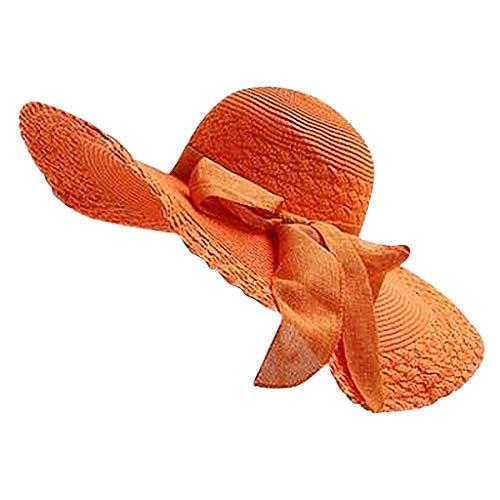 TOTOD Fashion Women Colorful Big Brim Straw Bow Hat Sun Floppy Wide Brim Hats Beach Cap Orange -