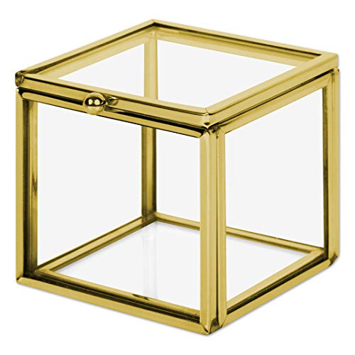 Koyal Wholesale Gold 2.36-inch Square Cube Glass Ring Box for Proposal, Engagement, Wedding Ceremony, Ring Bearer, Gift, Keepsake, Jewelry Organizer Holder Display Case (Petals Square Pillow)
