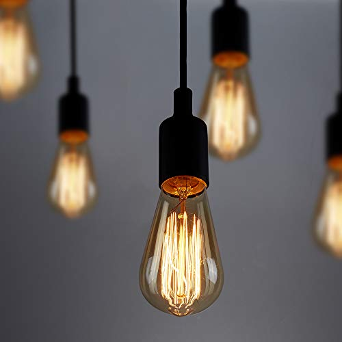 Vintage Edison Bulb,HESSION ST64 60w Dimmable Antique Tungsten Filament Incandescent Light Bulbs Squirrel Cage Style E26 Base for Decorative Pendant Lighting Glass 110V Amber Color(6 Pack) ()