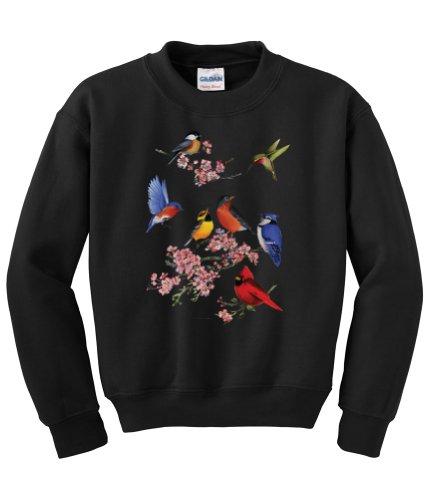 Bird Sweater - Express Yourself Songbirds of America Crew Neck Sweatshirt (Black - XL)