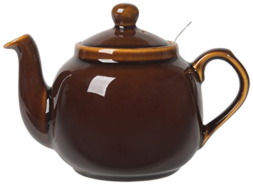 London Pottery Farmhouse Teapot with Stainless Steel Infuser, 4 Cup Capacity, Rockingham Brown