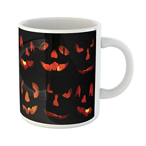 Semtomn Funny Coffee Mug Orange Candlelight Glows From Six Scary Jack O Lantern Faces 11 Oz Ceramic Coffee Mugs Tea Cup Best Gift Or Souvenir