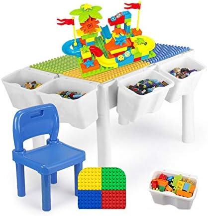 ビルディングブロックゲームテーブル 子供の木製テーブルおもちゃ3-6歳の男の子と女の子の組み立てられた粒子パズルゲームテーブル多機能ホワイト ポータブル折りたたみテーブル (色 : 白, サイズ : 43x41x60cm)