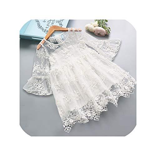 Summer Girl Kids Dresses for Girls Lace Flower Dress Baby Girl Party Wedding Dress,White,7T -