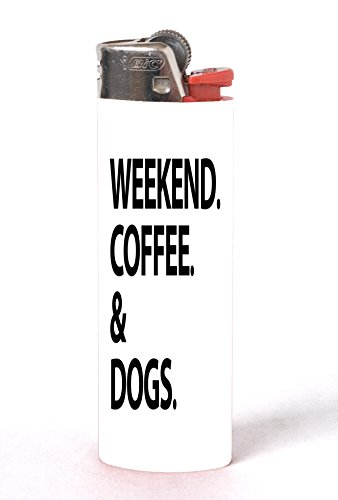 Weekend Coffee and Dogs 2 PACK Vinyl Decal Wrap Skin Stickers for Bic Lighters by Moonlight - Designers Wiki Fashion