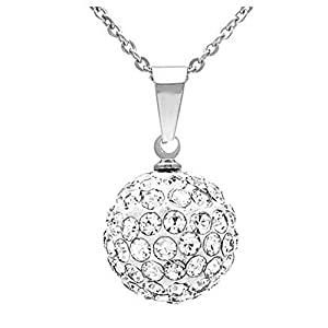 1pc x Sterling Silver Pendant Necklace Sparkle Pendant Necklace Layering Necklace 16mm Ball Pendant in Gift Box #NK16-14