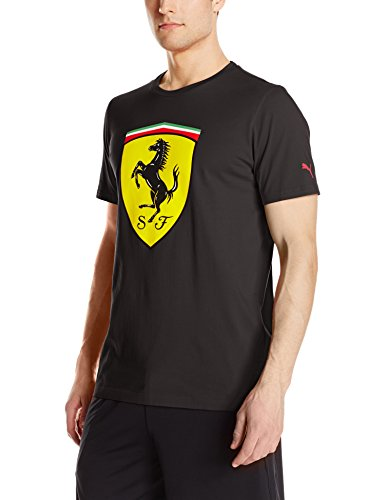 PUMA Men's Scuderia Ferrari Big Shield T-Shirt, Cotton Black, - Scuderia Puma