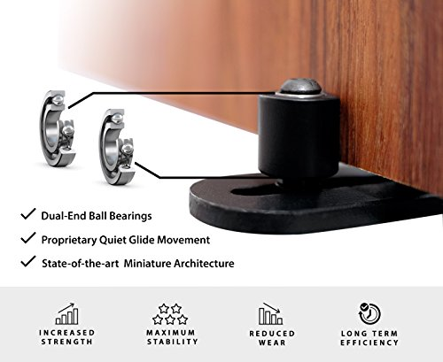 Fully Adjustable Wall Mounted Barn Door Guide - ORACLE GLIDE | IMPROVED DESIGN, Quiet, Lay-Flat System, Ball Bearing Technology, Safer Corners, Floor protecting. Hardware for Rolling and Sliding Doors by -ORACLE- (Image #3)