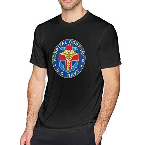 UCISNE2 Men's Short Sleeve Shirt US Navy Hospital Corpsman Cotton Fashion Round Neck Tee